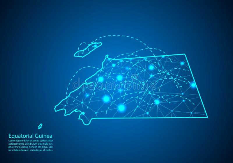 Χάρτης της Ισημερινής Γουινέας με τους κόμβους που συνδέονται από τις γραμμές έννοια του glo απεικόνιση αποθεμάτων