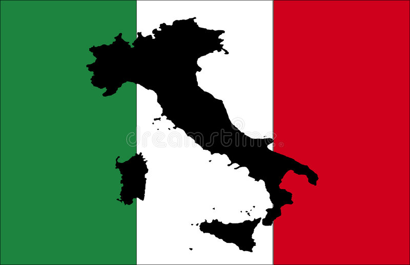 χάρτης της Ιταλίας μαύρων σημαιών ελεύθερη απεικόνιση δικαιώματος