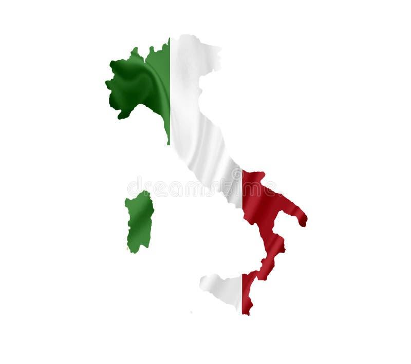 Χάρτης της Ιταλίας με την κυματίζοντας σημαία που απομονώνεται στο λευκό στοκ εικόνες