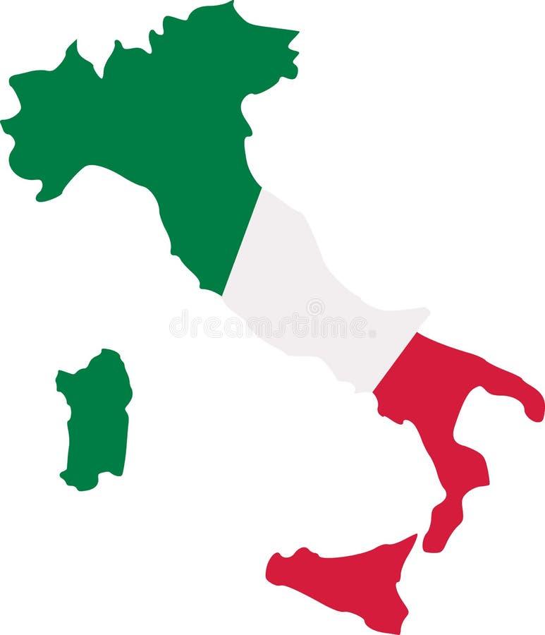 Χάρτης της Ιταλίας με τη σημαία διανυσματική απεικόνιση