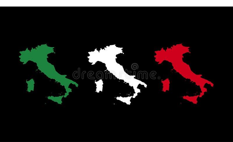χάρτης της Ιταλίας 3 σημαιών διανυσματική απεικόνιση