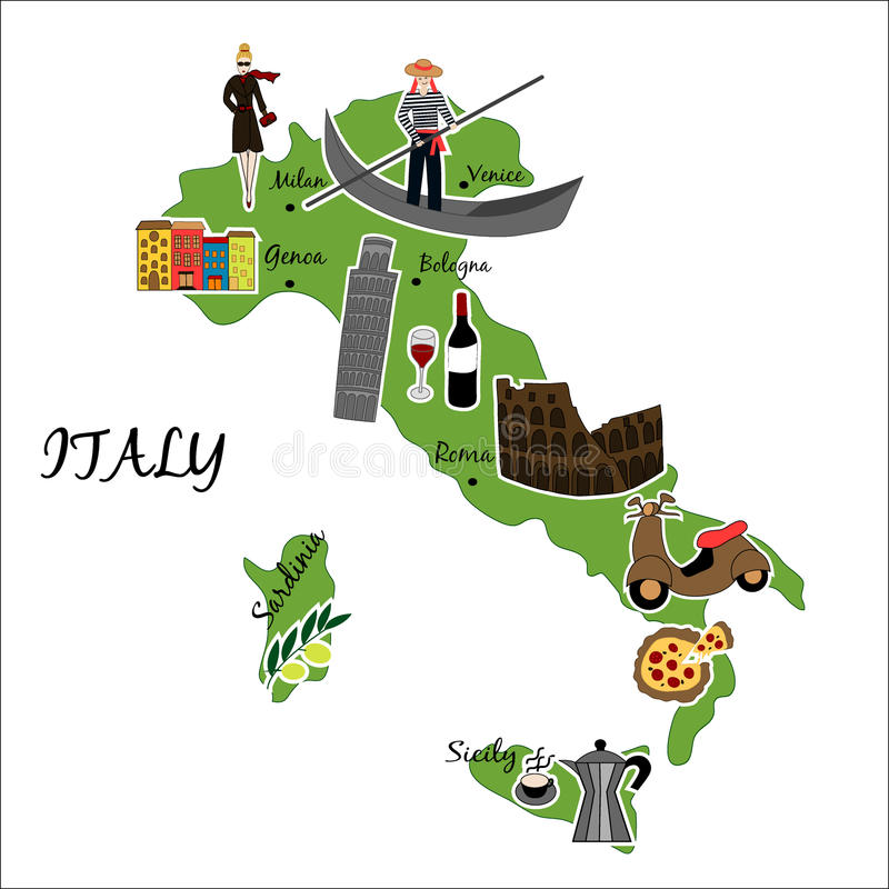 Χάρτης της Ιταλίας με τα χαρακτηριστικά χαρακτηριστικά γνωρίσματα στοκ εικόνες με δικαίωμα ελεύθερης χρήσης