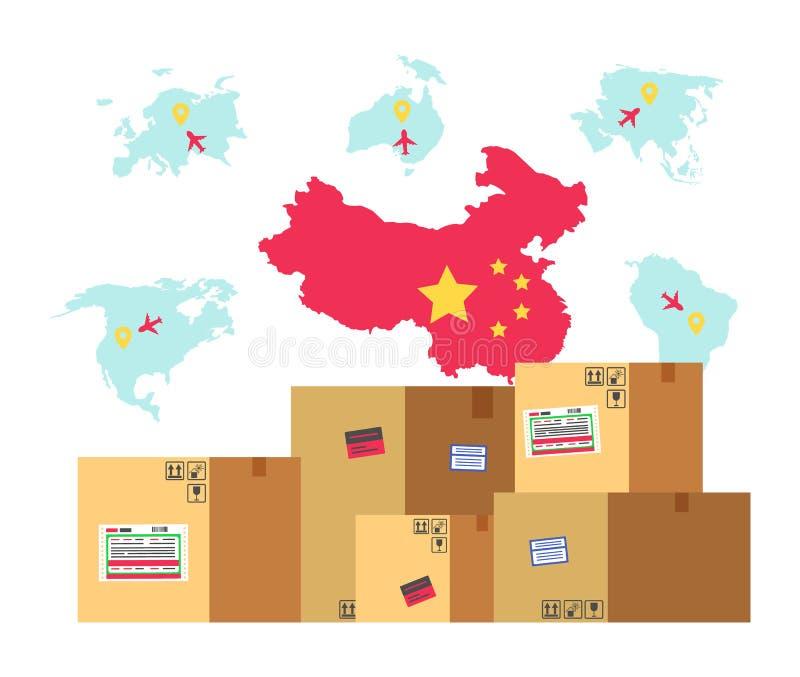 Χάρτης της Κίνας με τη σημαία και παραγωγή στα δέματα απεικόνιση αποθεμάτων