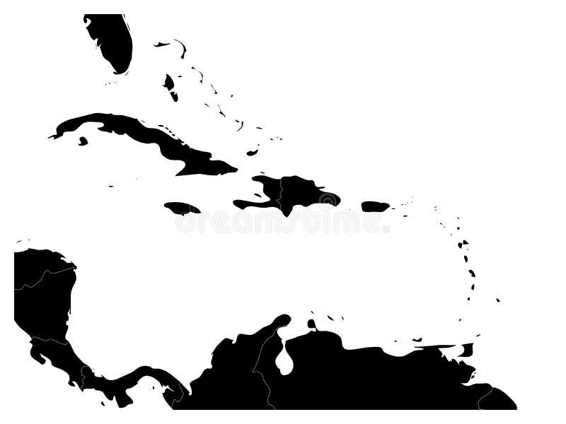 Χάρτης της καραϊβικών περιοχής και της Κεντρικής Αμερικής Μαύρη σκιαγραφία εδάφους και άσπρο νερό Απλή επίπεδη διανυσματική απεικ διανυσματική απεικόνιση
