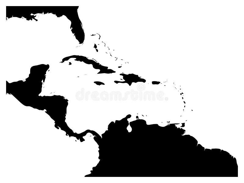 Χάρτης της καραϊβικών περιοχής και της Κεντρικής Αμερικής Μαύρη σκιαγραφία εδάφους και άσπρο νερό Απλή επίπεδη διανυσματική απεικ ελεύθερη απεικόνιση δικαιώματος
