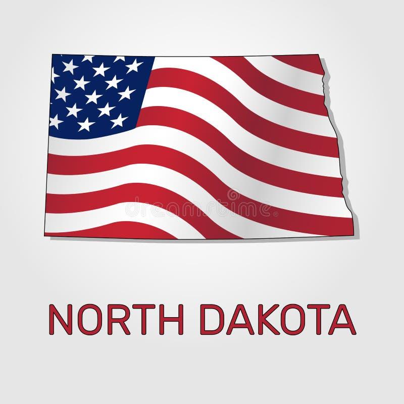 Χάρτης της κατάστασης βόρεια Ντακότα σε σχέση με με έναν κυματισμό η σημαία των Ηνωμένων Πολιτειών - διάνυσμα απεικόνιση αποθεμάτων