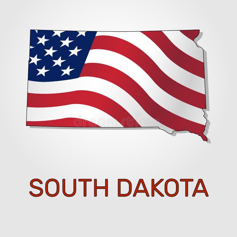 Χάρτης της κατάστασης νότια Ντακότα σε σχέση με με έναν κυματισμό η σημαία των Ηνωμένων Πολιτειών - διάνυσμα διανυσματική απεικόνιση