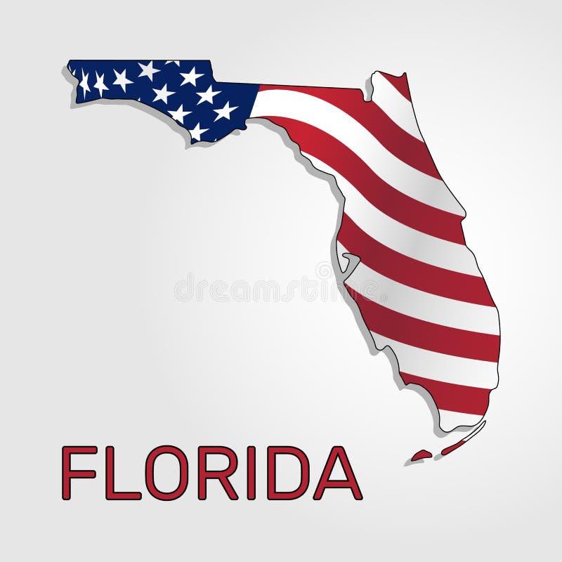 Χάρτης της κατάστασης της Φλώριδας σε σχέση με με έναν κυματισμό σημαία των Ηνωμένων Πολιτειών - διάνυσμα διανυσματική απεικόνιση