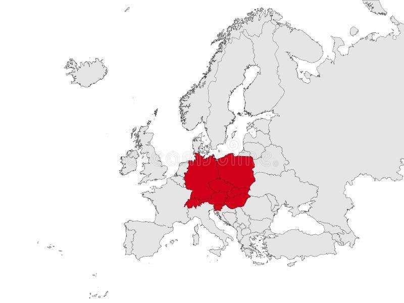 Χάρτης της κεντρικής Ευρώπης ελεύθερη απεικόνιση δικαιώματος