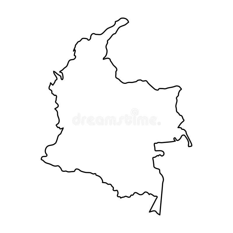Χάρτης της Κολομβίας των μαύρων καμπυλών περιγράμματος της απεικόνισης ελεύθερη απεικόνιση δικαιώματος