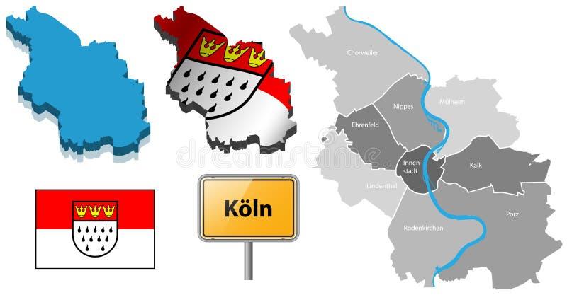 Χάρτης της Κολωνίας με τις περιοχές, τη σημαία και το διάνυσμα σημαδιών θέση-ονόματος διανυσματική απεικόνιση