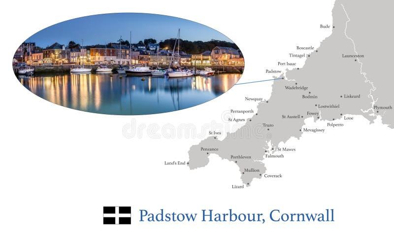 Χάρτης της Κορνουάλλης, που χαρακτηρίζει τη φωτογραφική εικόνα του λιμανιού Padstow στο σούρουπο, και των βασικών πόλεων στην Κορ στοκ φωτογραφία με δικαίωμα ελεύθερης χρήσης