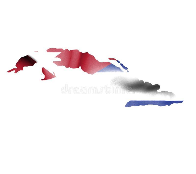 Χάρτης της Κούβας με την κυματίζοντας σημαία που απομονώνεται στο λευκό ελεύθερη απεικόνιση δικαιώματος