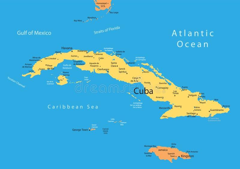 χάρτης της Κούβας Τζαμάικ&alpha ελεύθερη απεικόνιση δικαιώματος