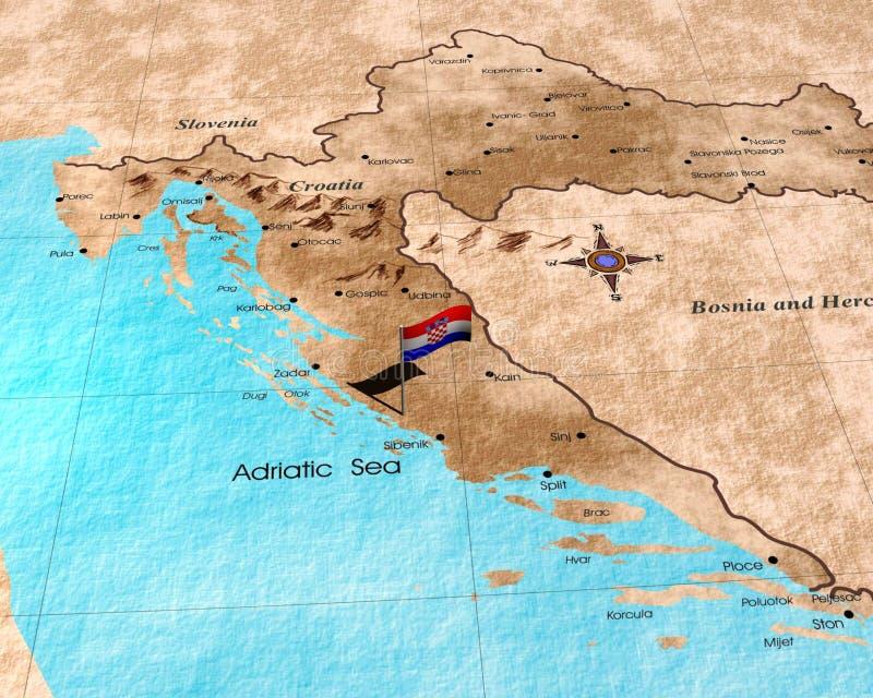 χάρτης της Κροατίας στοκ φωτογραφία