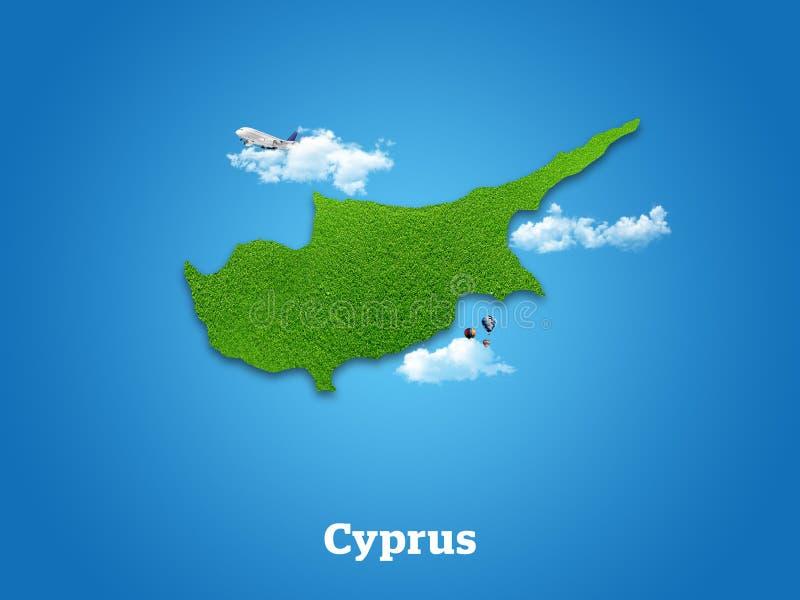 Χάρτης της Κύπρου Πράσινη χλόη, ουρανός και νεφελώδης έννοια στοκ εικόνες