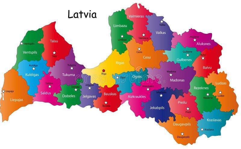 Χάρτης της Λετονίας ελεύθερη απεικόνιση δικαιώματος