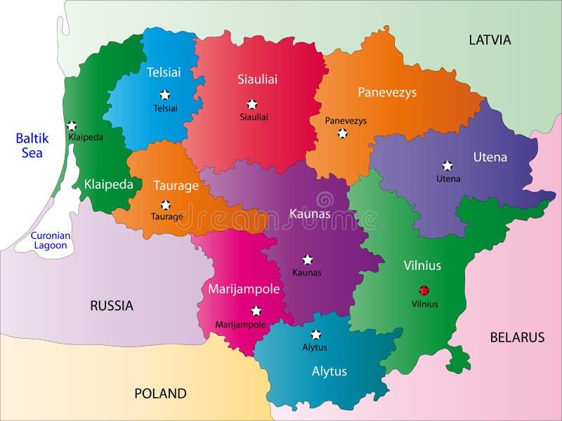 Χάρτης της Λιθουανίας διανυσματική απεικόνιση