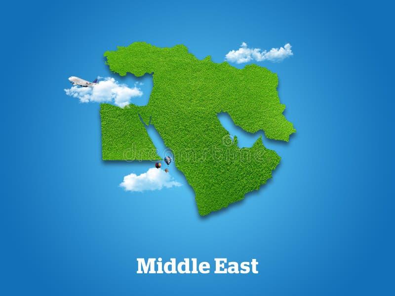 Χάρτης της Μέσης Ανατολής Πράσινη χλόη, ουρανός και νεφελώδης έννοια στοκ φωτογραφία