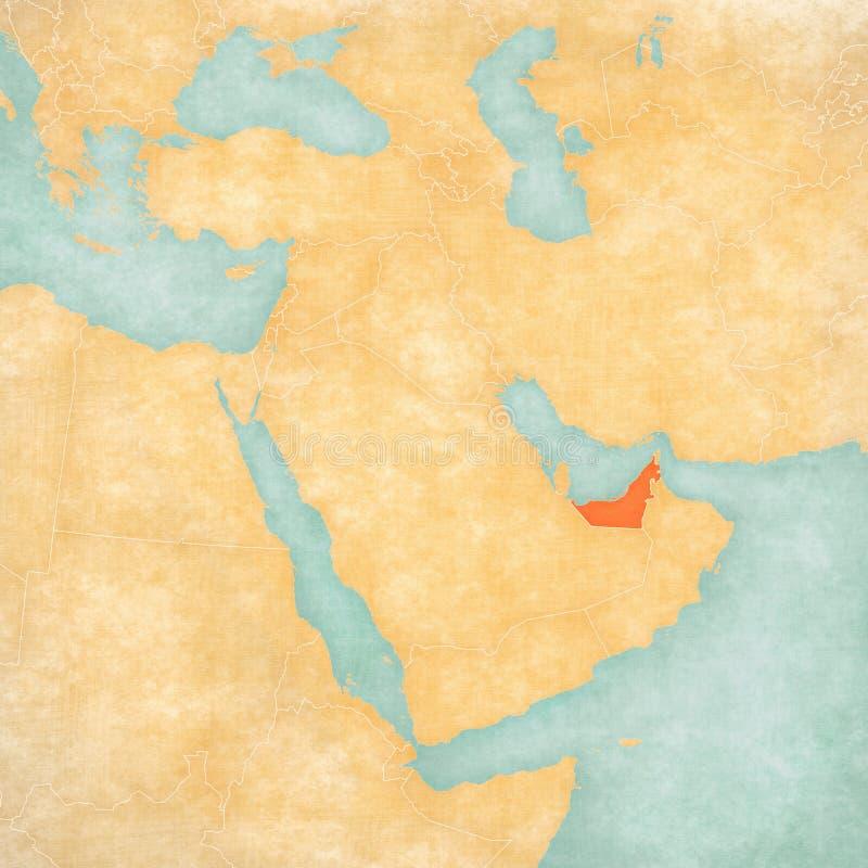 Χάρτης της Μέσης Ανατολής - των Ηνωμένων Αραβικών Εμιράτων διανυσματική απεικόνιση