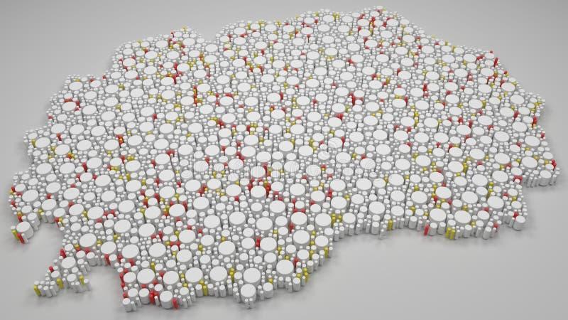 Χάρτης της Μακεδονίας - της Ευρώπης διανυσματική απεικόνιση