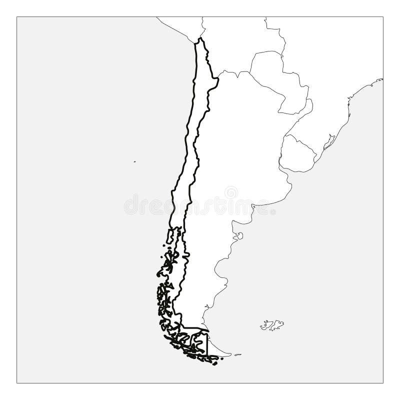 Χάρτης της μαύρης παχιάς περίληψης της Χιλής που τονίζεται με τις χώρες γειτόνων διανυσματική απεικόνιση
