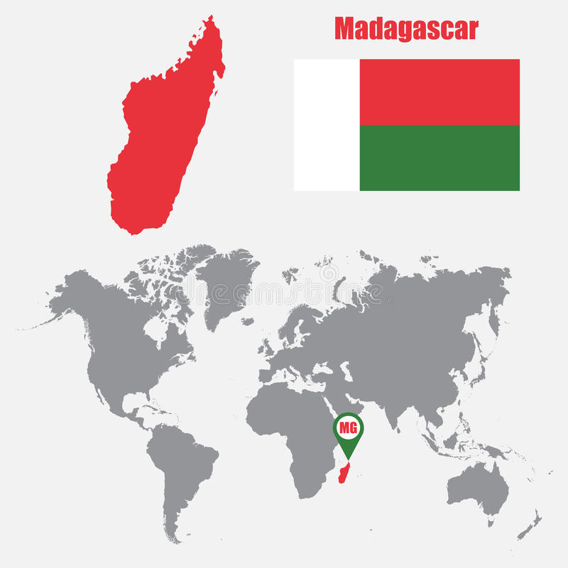 Χάρτης της Μαδαγασκάρης σε έναν παγκόσμιο χάρτη με το δείκτη σημαιών και χαρτών επίσης corel σύρετε το διάνυσμα απεικόνισης ελεύθερη απεικόνιση δικαιώματος