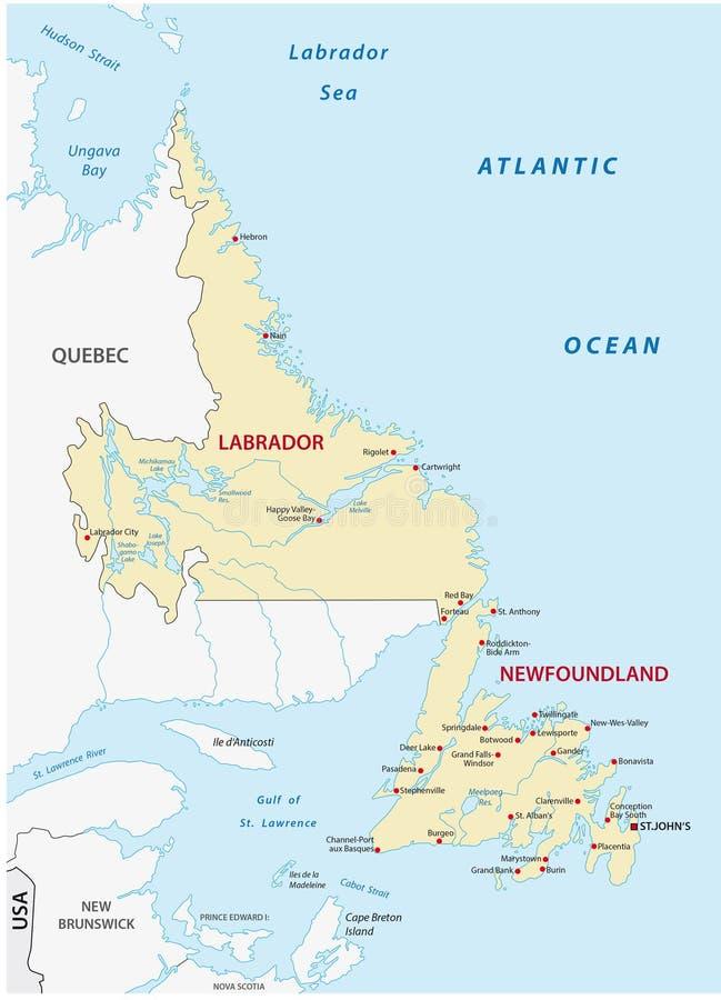Χάρτης της νέας γης και του Λαμπραντόρ διανυσματική απεικόνιση