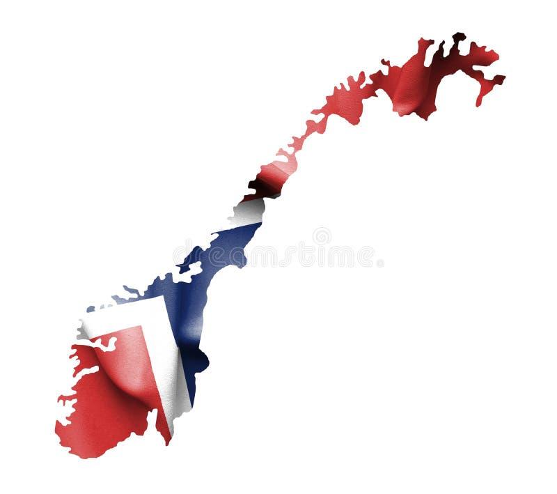Χάρτης της Νορβηγίας με την κυματίζοντας σημαία που απομονώνεται στο λευκό ελεύθερη απεικόνιση δικαιώματος