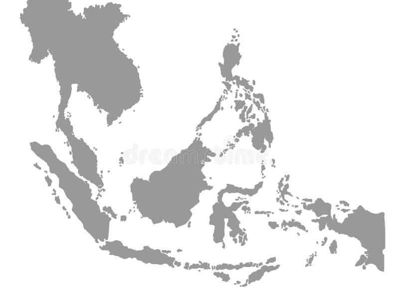 Χάρτης της Νοτιοανατολικής Ασίας στο άσπρο υπόβαθρο διανυσματική απεικόνιση