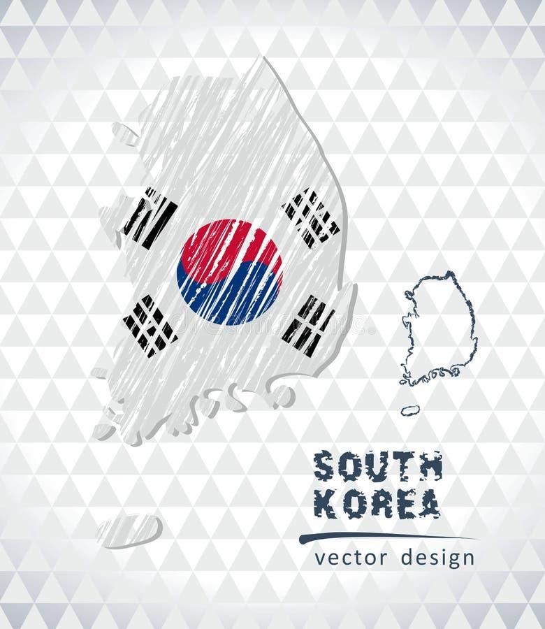 Χάρτης της Νότιας Κορέας με σχεδιαζόμενο το χέρι χάρτη μανδρών σκίτσων μέσα επίσης corel σύρετε το διάνυσμα απεικόνισης διανυσματική απεικόνιση