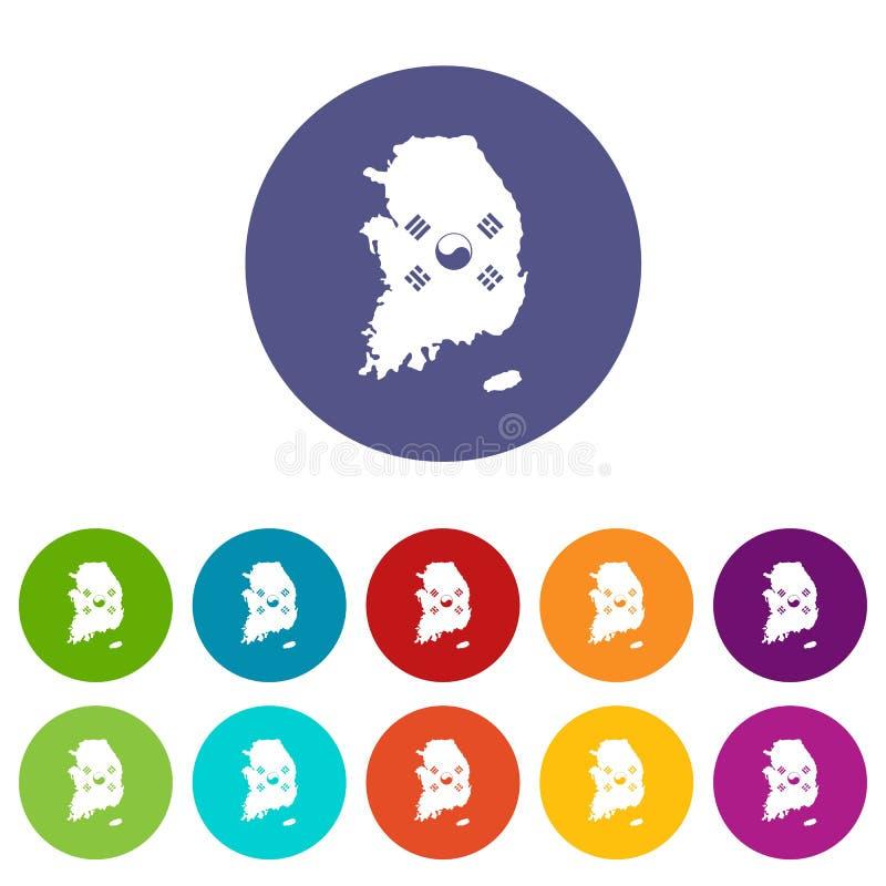 Χάρτης της Νότιας Κορέας με τα καθορισμένα εικονίδια σημαιών διανυσματική απεικόνιση
