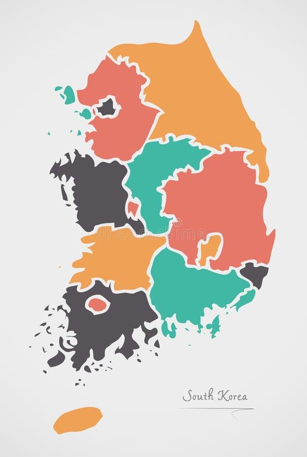 Χάρτης της Νότιας Κορέας με τα κράτη και τις σύγχρονες στρογγυλές μορφές ελεύθερη απεικόνιση δικαιώματος