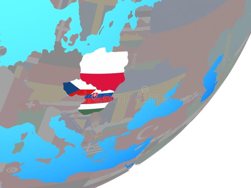 Χάρτης της ομάδας του Visegrad με τη σημαία στη σφαίρα ελεύθερη απεικόνιση δικαιώματος