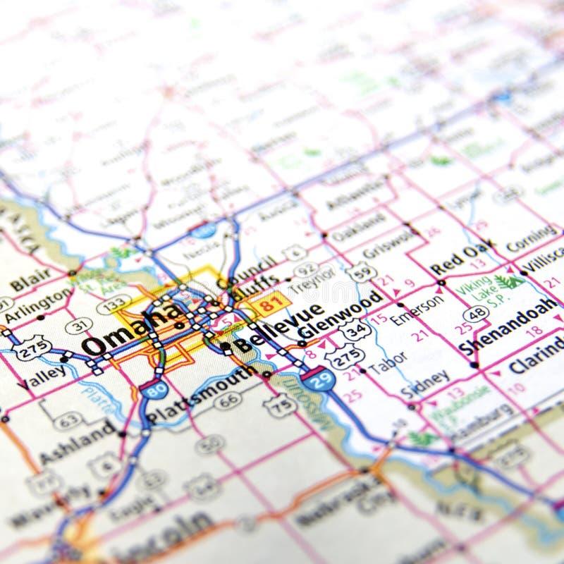 Χάρτης της Ομάχα στοκ εικόνα