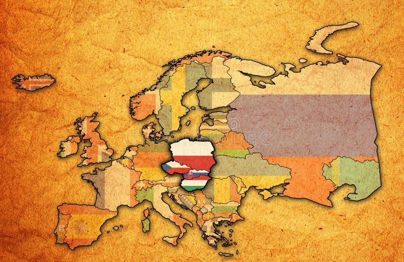 Χάρτης της ομάδας του Visegrad διανυσματική απεικόνιση