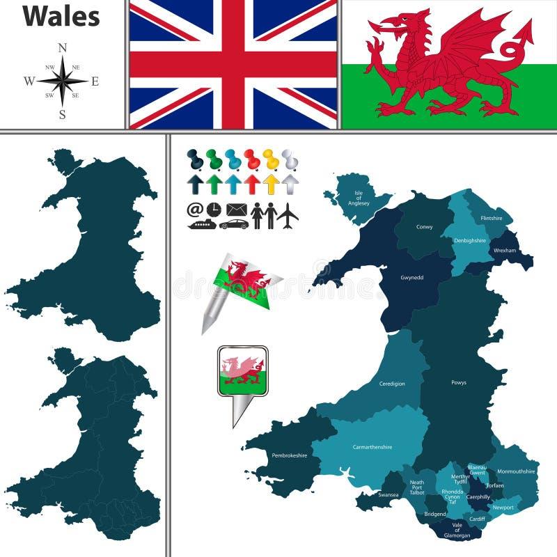 Χάρτης της Ουαλίας με τις κύριες περιοχές ελεύθερη απεικόνιση δικαιώματος