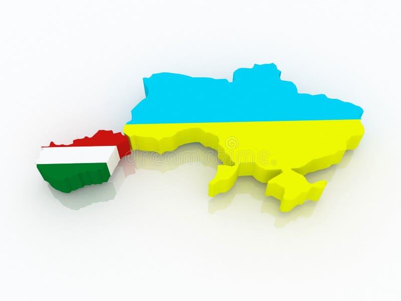 Χάρτης της Ουγγαρίας και της Ουκρανίας. διανυσματική απεικόνιση