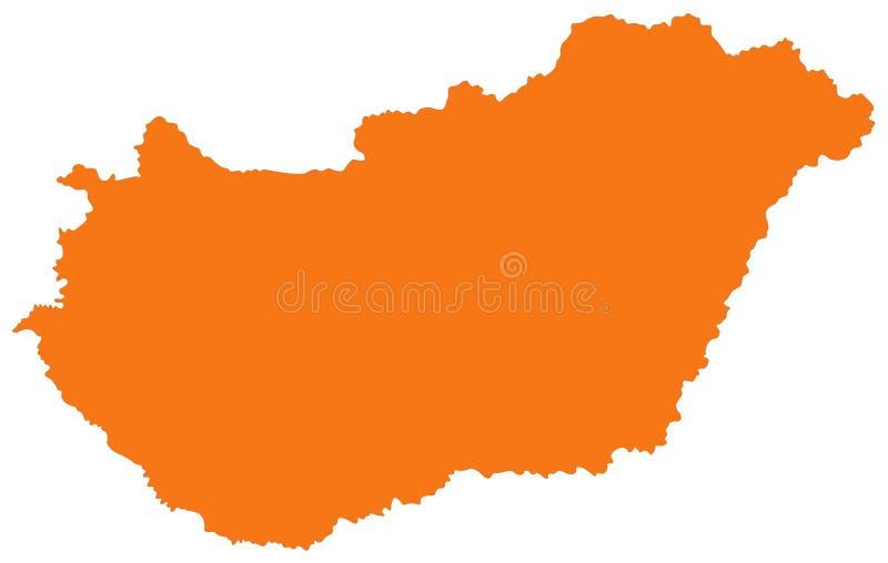 Χάρτης της Ουγγαρίας - χώρα στην κεντρική Ευρώπη ελεύθερη απεικόνιση δικαιώματος