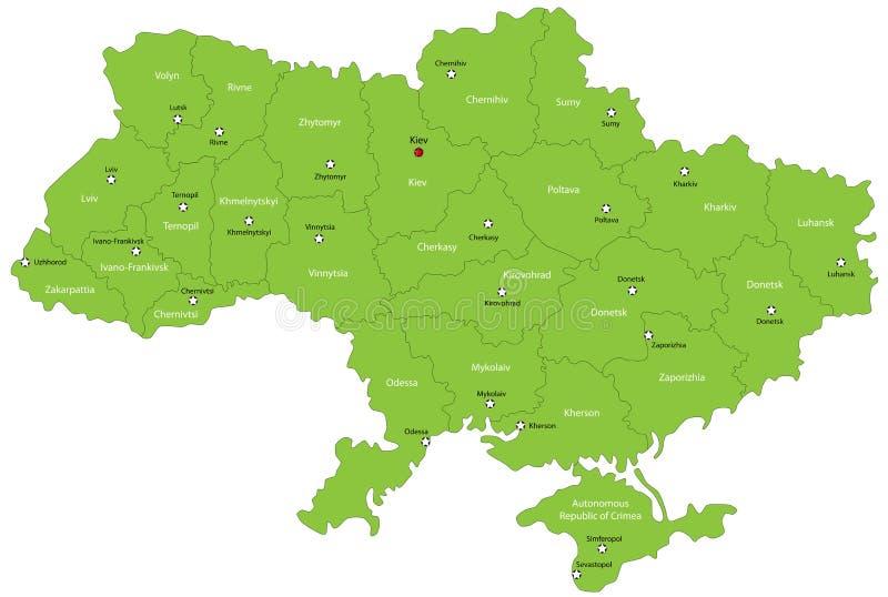Χάρτης της Ουκρανίας διανυσματική απεικόνιση