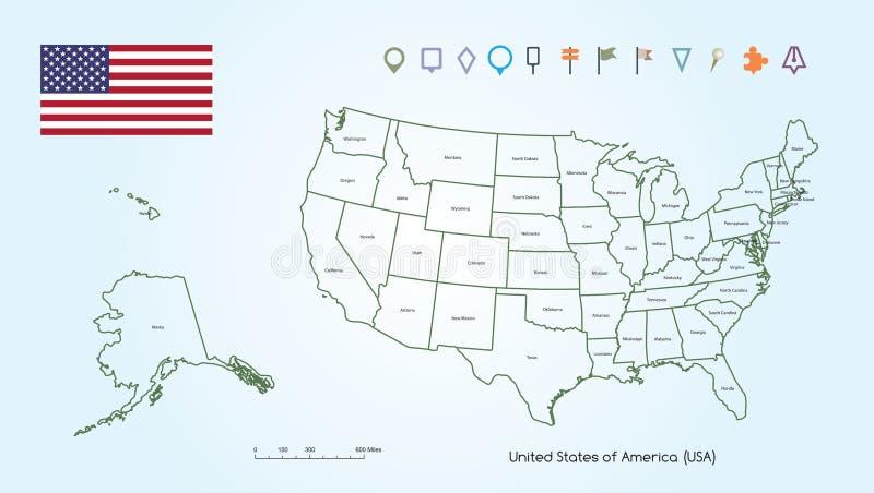 Χάρτης της περίληψης των Ηνωμένων Πολιτειών της Αμερικής για κάθε χώρες με τη συλλογή ΑΜΕΡΙΚΑΝΙΚΩΝ σημαιών και εντοπιστών διανυσματική απεικόνιση