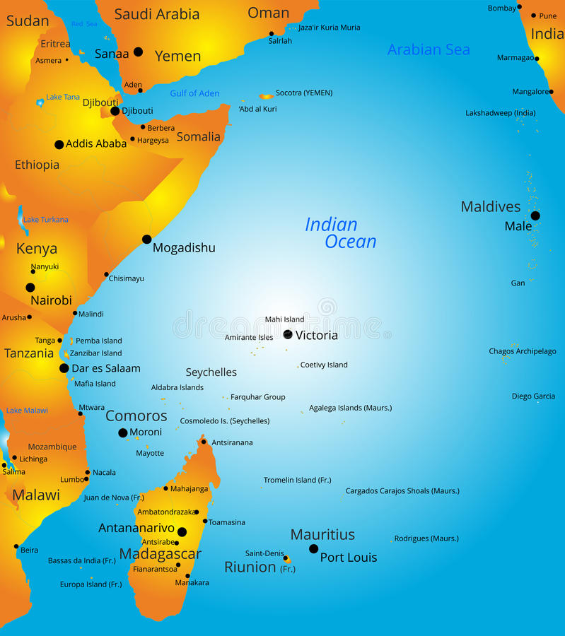 Χάρτης της περιοχής της Ανατολικής Αφρικής ελεύθερη απεικόνιση δικαιώματος