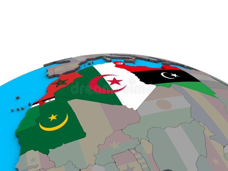 Χάρτης της περιοχής του Μαγκρέμπ με τις σημαίες στη σφαίρα ελεύθερη απεικόνιση δικαιώματος