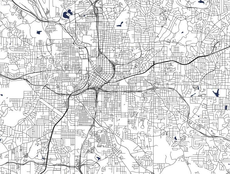 Χάρτης της πόλης της Ατλάντας, ΗΠΑ διανυσματική απεικόνιση
