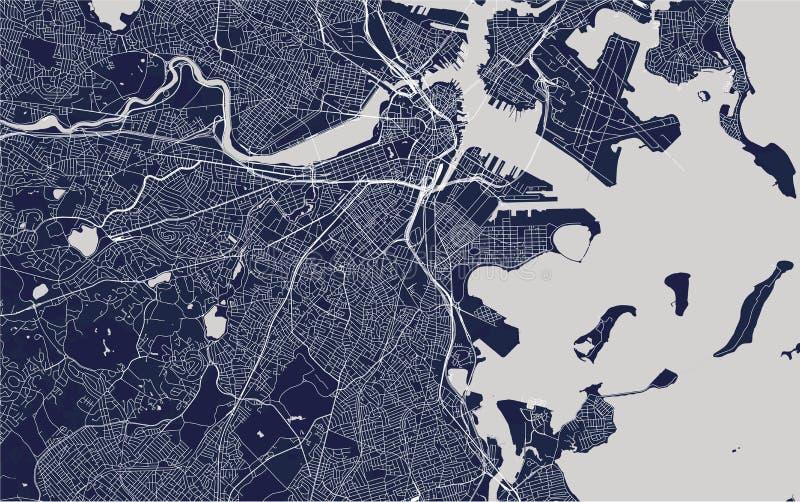 Χάρτης της πόλης της Βοστώνης, ΗΠΑ στοκ φωτογραφίες με δικαίωμα ελεύθερης χρήσης