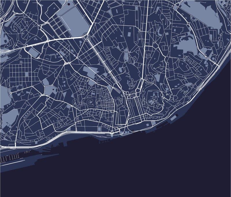 Χάρτης της πόλης της Λισσαβώνας, Πορτογαλία ελεύθερη απεικόνιση δικαιώματος