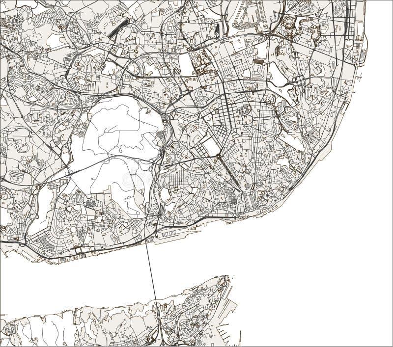 Χάρτης της πόλης της Λισσαβώνας, Πορτογαλία απεικόνιση αποθεμάτων