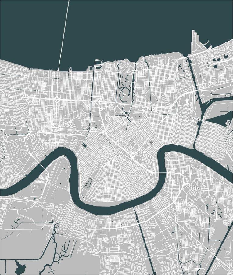 Χάρτης της πόλης της Νέας Ορλεάνης, Λουιζιάνα, ΗΠΑ απεικόνιση αποθεμάτων