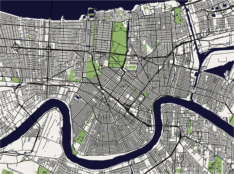 Χάρτης της πόλης της Νέας Ορλεάνης, Λουιζιάνα, ΗΠΑ διανυσματική απεικόνιση