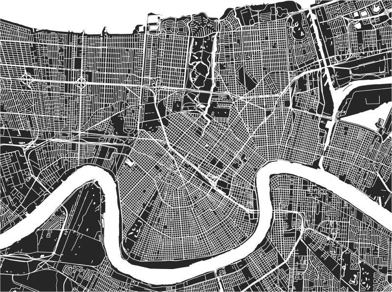 Χάρτης της πόλης της Νέας Ορλεάνης, Λουιζιάνα, ΗΠΑ ελεύθερη απεικόνιση δικαιώματος